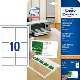 Visitenkarten Inkjet+Laser+Kopier 85x54mm 200g auf A4 Bögen weiß glatte Kanten Zweckform C32011-10 (PACK=100 STÜCK) Produktbild