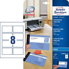 Visitenkarten Inkjet 85x54mm auf A4 Bögen 260g weiß matt beidseitig bedruck- bar glatte Kanten Zweckform C32015-10 (PACK=80 STÜCK) Produktbild