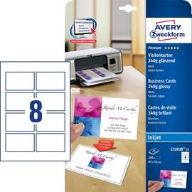 Visitenkarten Inkjet 85x54mm auf A4 240g weiß high-glossy beidseitig bedruck bar glatte Kanten Zweckform C32028-25 (ST=200 STÜCK) Produktbild