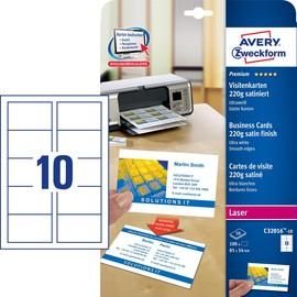 Visitenkarten Laser+Kopier 85x54mm auf A4 Bögen 220g weiß beidseitig bedruckbar glatte Kanten Zweckform C32016-10 (PACK=100 STÜCK) Produktbild