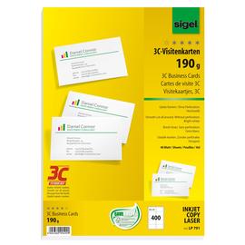 Visitenkarten Inkjet+Laser+Kopier 85x55mm 190g weiß glatte Kanten Sigel LP791 (PACK=400 STÜCK) Produktbild