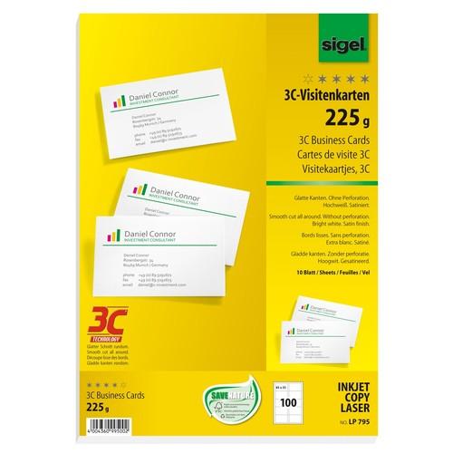 Visitenkarten Inkjet+Laser+Kopier 85x55mm 225g weiß glatte Kanten Sigel LP795 (PACK=100 STÜCK) Produktbild