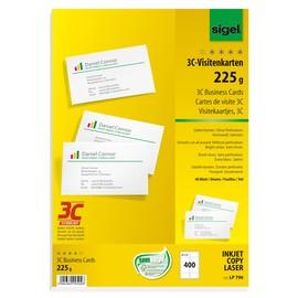 Visitenkarten Inkjet+Laser+Kopier 85x55mm 225g weiß glatte Kanten Sigel LP796 (PACK=400 STÜCK) Produktbild