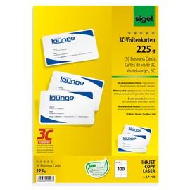 Visitenkarten Inkjet+Laser+Kopier 85x55mm 225g weiß glatte Kanten Sigel LP798 (PACK=100 STÜCK) Produktbild