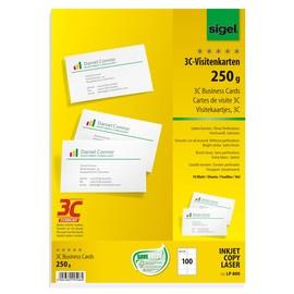Visitenkarten Inkjet+Laser+Kopier 85x55mm 250g weiß glatte Kanten Sigel LP800 (PACK=100 STÜCK) Produktbild