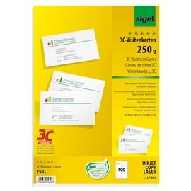 Visitenkarten Inkjet+Laser+Kopier 85x55mm 250g weiß glatte Kanten Sigel LP801 (PACK=400 STÜCK) Produktbild