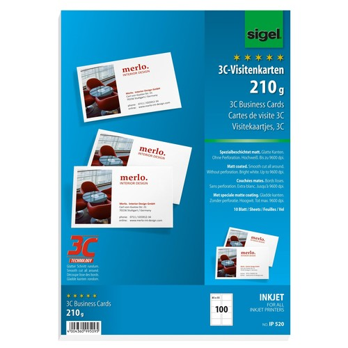 Visitenkarten Inkjet 85x55mm 210g weiß glatte Kanten Sigel IP520 (PACK=100 STÜCK) Produktbild