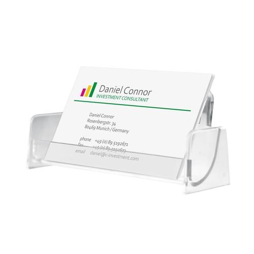 Visitenkarten-Aufsteller mit 1 Fach 97x85mm für 50Karten glasklar Hartplastik Sigel VA120 Produktbild Additional View 1 L