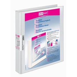 Präsentationsringbuch Velodur mit Sichttaschen A4 Überbreite 4Ringe Ringe-Ø25mm weiß PP Veloflex 4143190 Produktbild