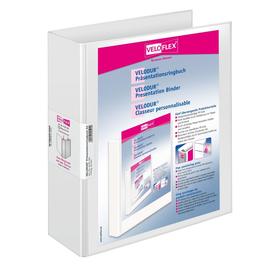 Präsentationsringbuch Velodur mit Sichttaschen A4 Überbreite 4Ringe Ringe-Ø50mm weiß PP Veloflex 4139190 Produktbild