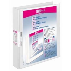 Präsentationsringbuch Velodur mit Sichttaschen A4 Überbreite 4Ringe Ringe-Ø30mm weiß PP Veloflex 4148190 Produktbild