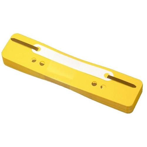 Einhänge-Heftstreifen kurz mit Kunststoff-Deckschiene 34x150mm gelb PP BestStandard (PACK=25 STÜCK) Produktbild Front View L