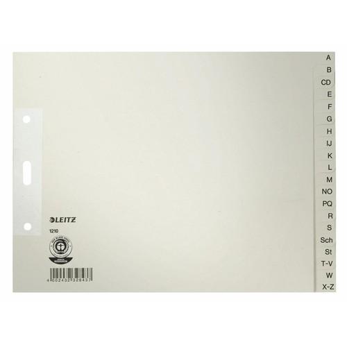 Register A-Z A4 halbe Höhe überbreit 240x180mm grau Papier Leitz 1210-00-85 Produktbild Front View L