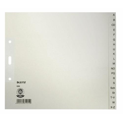 Register A-Z A4 halbe Höhe überbreit 240x210mm grau Papier Leitz 1200-00-85 Produktbild Front View L