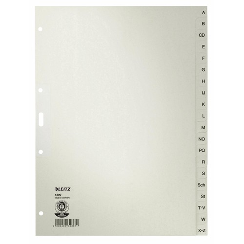 Register A-Z A4 225x300mm grau Papier Leitz 4300-00-85 Produktbild Front View L