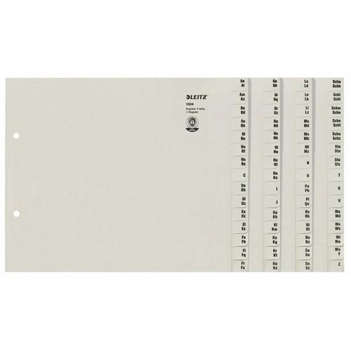 Registerserie A4 halbe Höhe überbreit A-Z 240x200mm für 4 Ordner grau Papier Leitz 1304-00-85 Produktbild Front View L