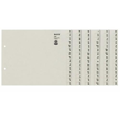 Registerserie A4 halbe Höhe überbreit A-Z 240x200mm für 8 Ordner grau Papier Leitz 1308-00-85 Produktbild Front View L