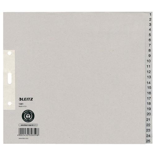 Registerserie A4 halbe Höhe überbreit 240x200mm Zahlen 1-25 grau Papier Leitz 1381-00-85 Produktbild Front View L