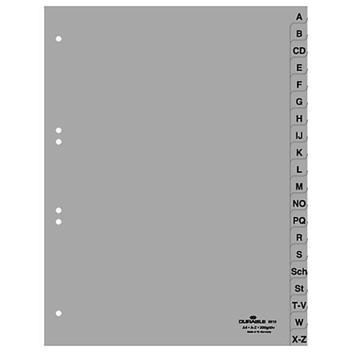 Register A-Z A4 230x297mm grau Plastik BestStandard 6510-10 Produktbild Front View L