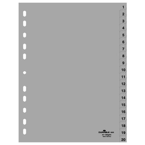 Register A4 230x297mm Zahlen 1-20 grau Plastik Durable 6522-10 Produktbild Front View L
