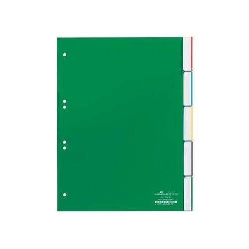 Register Blanko A4 mit Taben 230x297mm 5-teilig grün Plastik Durable 6220-05 Produktbild Front View L