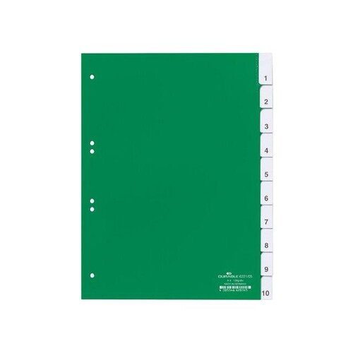 Register Blanko A4 mit Taben 230x297mm 10-teilig grün Plastik Durable 6221-05 Produktbild Front View L