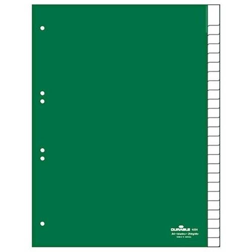 Register Blanko A4 mit Taben 230x297mm 25-teilig grün Plastik Durable 6224-05 Produktbild Front View L