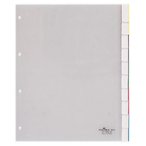 Register A4 überbreit mit Taben 245x297mm 1-10 transparent Plastik Durable 6831-19 Produktbild Front View L