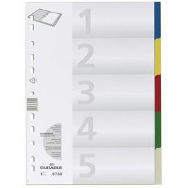 Register Blanko A4 220x297mm 5-teilig mehrfarbig Plastik Durable 6730-27 Produktbild