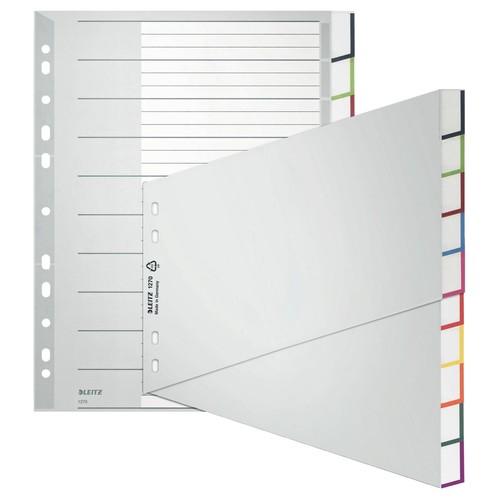 Register Blanko mit Taben A4 schräg 238x297mm 10-teilig grau Plastik Leitz 1270-00-00 Produktbild Front View L