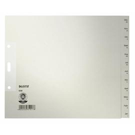 Register Monate A4 halbe Höhe überbreit 240x200mm Dez-Jan grau Papier Leitz 1230-00-85 Produktbild