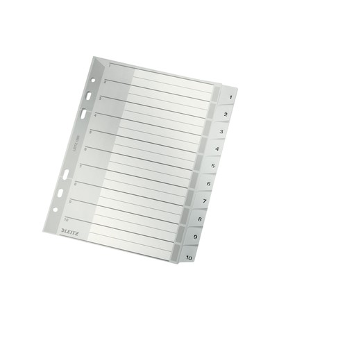 Register A5 hoch 165x210mm Zahlen 1-10 grau Plastik Leitz 1285-00-00 Produktbild Front View L