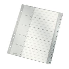 Register A4 überbreit 238x297mm Zahlen 1-20 grau Plastik Leitz 1284-00-00 Produktbild