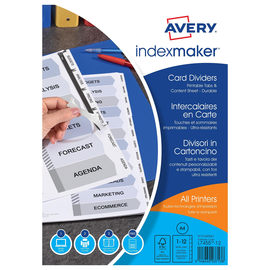 Register Inkjet+Laser+Kopier bedruckbar Blanko A4 12-teilig weiß Zweckform 1640061 Produktbild