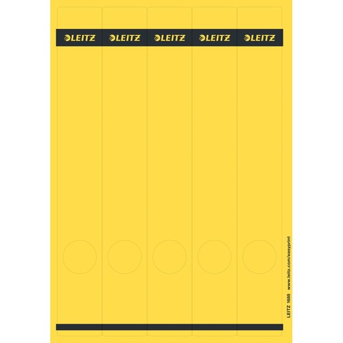 Rückenschilder zum Bedrucken 39x285mm lang schmal gelb selbstklebend Leitz 1688-00-15 (PACK=125 STÜCK) Produktbild Front View L