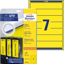 Rückenschilder zum Bedrucken 38x192mm kurz schmal auf A4 Bögen gelb selbstklebend Zweckform L4765-20 (PACK=140 STÜCK) Produktbild