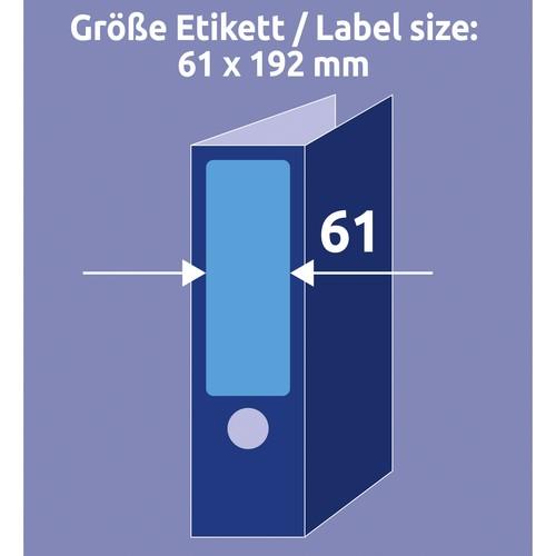 Rückenschilder zum Bedrucken 61x192mm kurz breit auf A4 Bögen blau selbstklebend Zweckform L4767-20 (PACK=80 STÜCK) Produktbild Additional View 5 L
