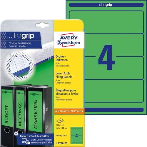 Rückenschilder zum Bedrucken 61x192mm kurz breit auf A4 Bögen grün selbstklebend Zweckform L4768-20 (PACK=80 STÜCK) Produktbild