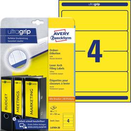 Rückenschilder zum Bedrucken 61x192mm kurz breit auf A4 Bögen gelb selbstklebend Zweckform L4769-20 (PACK=80 STÜCK) Produktbild