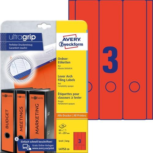 Rückenschilder zum Bedrucken 61x297mm lang breit auf A4 Bögen rot selbstklebend Zweckform L4752-20 (PACK=60 STÜCK) Produktbild
