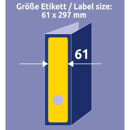 Rückenschilder zum Bedrucken 61x297mm lang breit auf A4 Bögen gelb selbstklebend Zweckform L4755-20 (PACK=60 STÜCK) Produktbild Additional View 5 L