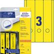 Rückenschilder zum Bedrucken 61x297mm lang breit auf A4 Bögen gelb selbstklebend Zweckform L4755-20 (PACK=60 STÜCK) Produktbild