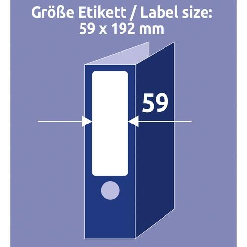 Rückenschilder zum Bedrucken 59x192mm kurz breit auf A4 Bögen weiß selbstklebend Zweckform L6061-25 (PACK=120 STÜCK) Produktbild Additional View 4 L
