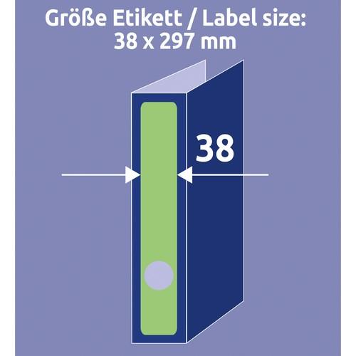 Rückenschilder zum Bedrucken 38x297mm lang schmal auf A4 Bögen grün selbstklebend Zweckform L4750-20 (PACK=100 STÜCK) Produktbild Additional View 6 L