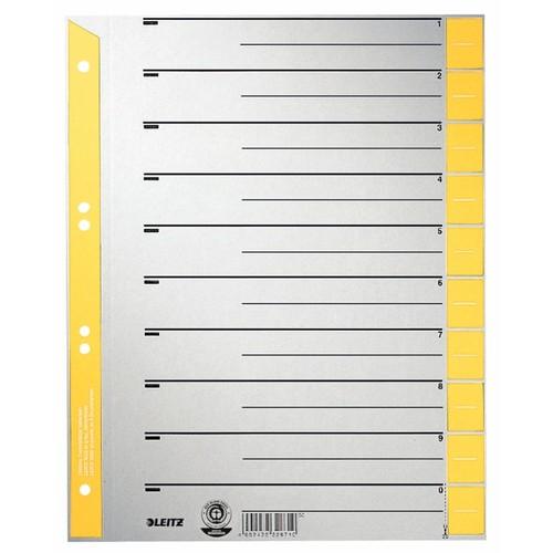 Trennblätter mit abschneidbaren Taben A4 238x300mm gelb teilfarbig Karton Leitz 1652-30-15 (PACK=25 STÜCK) Produktbild Front View L