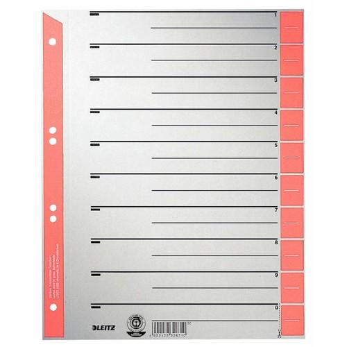 Trennblätter mit abschneidbaren Taben A4 238x300mm rot teilfarbig Karton Leitz 1652-30-25 (PACK=25 STÜCK) Produktbild Front View L