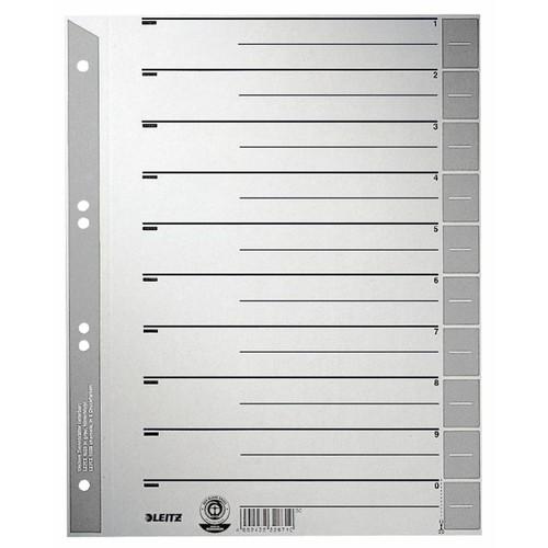 Trennblätter mit abschneidbaren Taben A4 240x300mm grau teilfarbig Karton Leitz 1652-00-85 (PACK=100 STÜCK) Produktbild Front View L