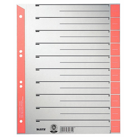Trennblätter mit abschneidbaren Taben A4 240x300mm rot teilfarbig Karton Leitz 1652-00-25 (PACK=100 STÜCK) Produktbild