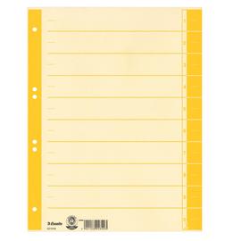 Trennblätter mit abschneidbaren Taben A4 240x300mm gelb teilfarbig Karton Esselte 621018 (PACK=100 STÜCK) Produktbild