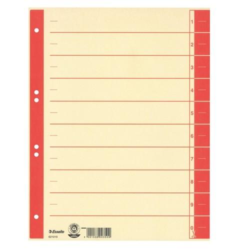 Trennblätter mit abschneidbaren Taben A4 240x300mm rot teilfarbig Karton Esselte 621019 (PACK=100 STÜCK) Produktbild Front View L